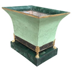 20th Century French Green Tole Cachepot with Paw Feet