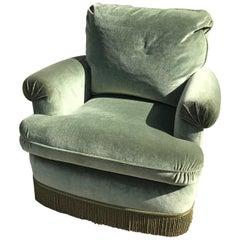 20th Century French Green Velvet Comfortable Armchair, 1950s