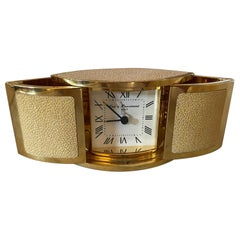 20th Century French Guy de Puyraimond Gold Plated and Shagreen Clock, 1980s
