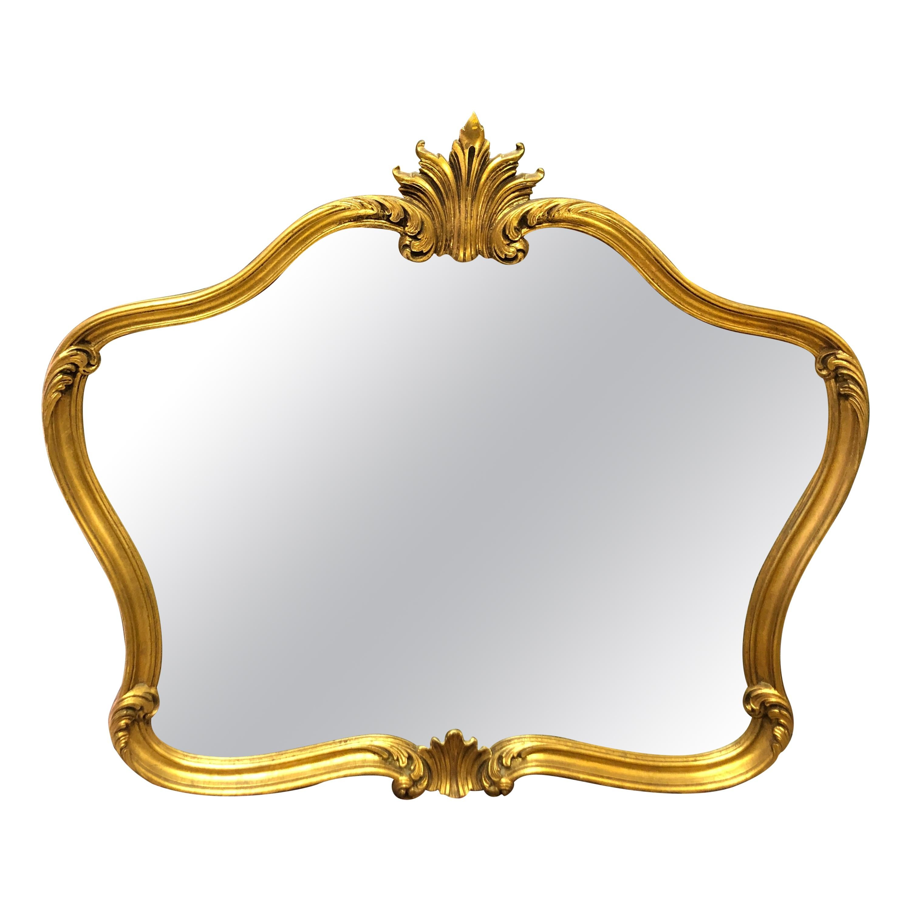 20th Century French Hand Carved Giltwood Mirror in Louis XV Style
