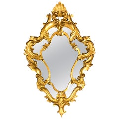 20th Century French Hand Carved Giltwood Rocaille Crystal Mirror