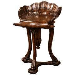 20th Century French Hand Carved Walnut Piano Grotto Stool with Shell Motif
