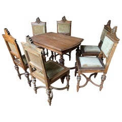 20th Century French Hand Carved Walnut Set of a Table with Six Chairs