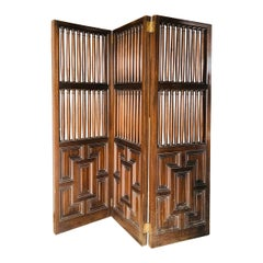 20th Century French Hand Carved Wooden Folding Screen with Three Panels