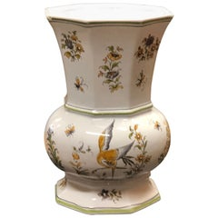 20th Century French Hand Painted Ceramic Vase by Franc Hirigoyen from Moustiers