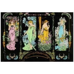 "20th Century French Hand Painted Mirror ""Four Seasons"" in Alpnonse Mucha Style"