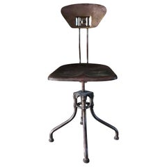 20th Century French Industrial Metal Chair by Henri Lieber