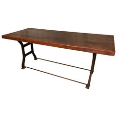 20th Century French Industrial Table with Oak Top