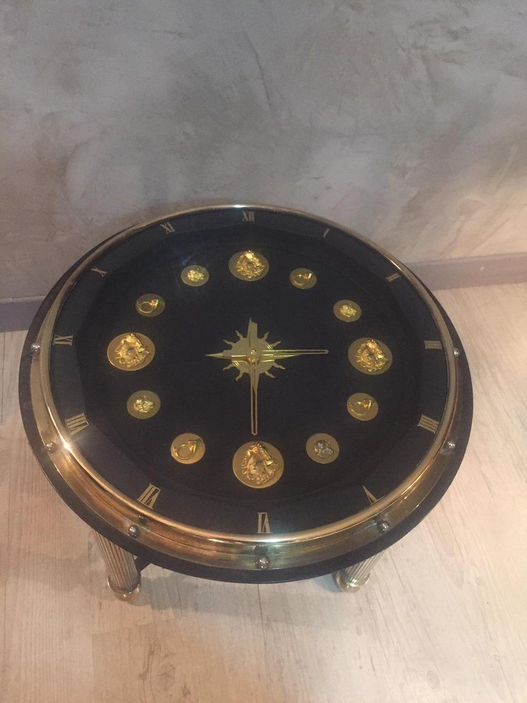 Gilt 20th Century, French Jacques Adnet Hunting Court Clock Gueridon, 1950s For Sale