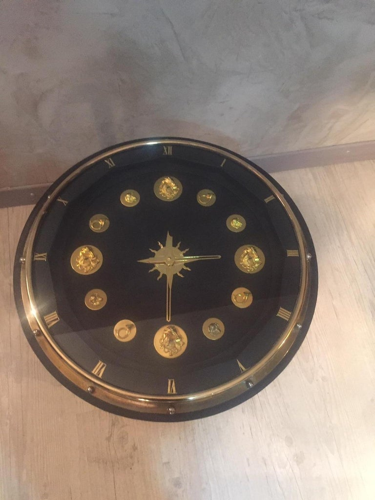 20th Century, French Jacques Adnet Hunting Court Clock Gueridon, 1950s In Good Condition For Sale In LEGNY, FR