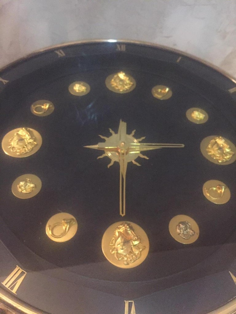 Mid-20th Century 20th Century, French Jacques Adnet Hunting Court Clock Gueridon, 1950s For Sale