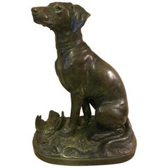20th Century French Jules Edmond Masson Dog Bronze, 1920s