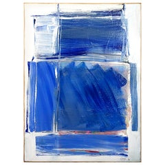 20th Century French Light Blue Abstract Painting by Daniel Clesse