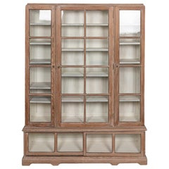 20th Century French Limed Wood & Glass-Mounted Display Cabinet, C.1900