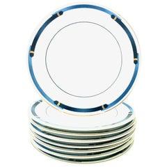 "20th Century Limoge Dessert Plates ""Iriana Bleu"" by Christofle Paris, Set of 8"