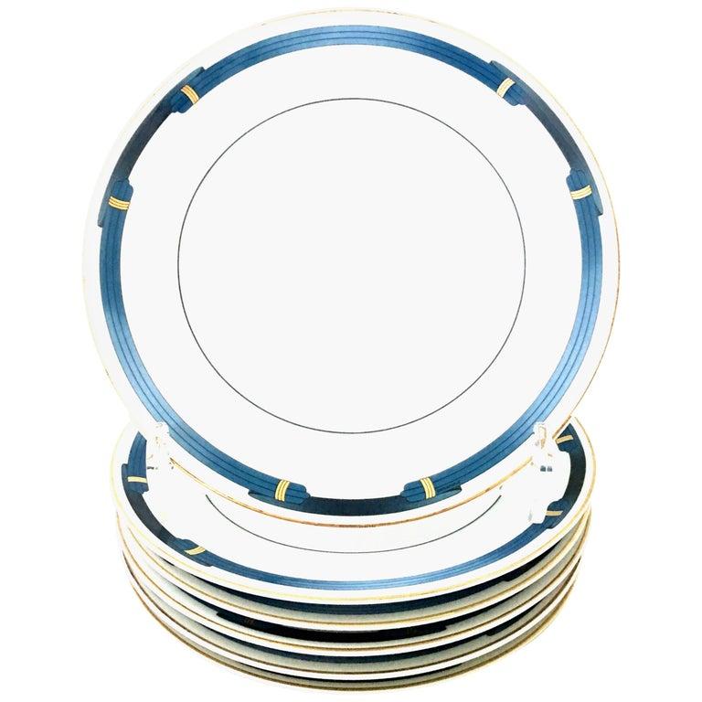 "French Limoge Dinner Plates ""Iriana Bleu"" By Christofle Paris Set of 6"
