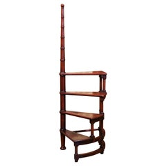 20th Century French Louis XIII Carved Mahogany Library Spiral Step Ladder