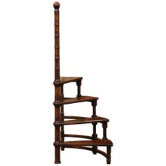 20th Century French Louis XIII Carved Walnut Library Spiral Step Ladder