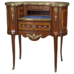 20th Century French Louis XV Carved Mahogany Lady Table Desk with Marble Top