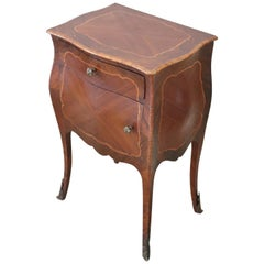 20th Century French Louis XV Style Inlaid Rosewood Side Table or Nightstand