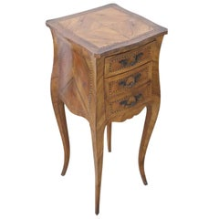 20th Century French Louis XV Style Inlaid Walnut Side Table or Nightstand
