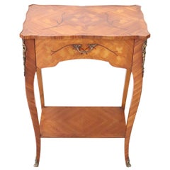 20th Century French Louis XV Style Inlaid Wood and Golden Bronzes Side Table