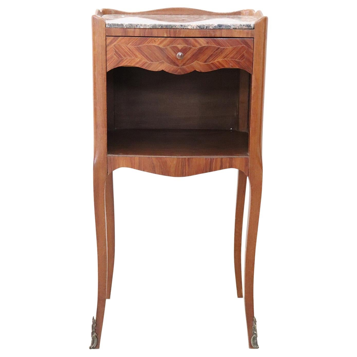 20th Century French Louis XV Style Inlaid Wood Side Tables with Marble Top