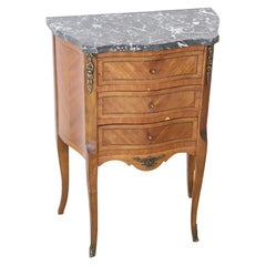 20th Century French Louis XV Style Inlaid Wood Small Dresser with Marble Top