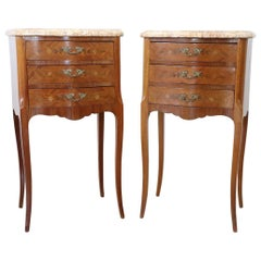 20th Century French Louis XV Style Inlay Wood Golden Bronzes Pair of Nightstands