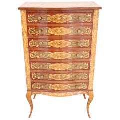 20th Century French Louis XV Style Inlay Wood Tall Chest of Drawers or Dresser