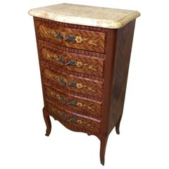20th century French Louis XV Style Marquetry and Marble Chest of drawers