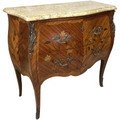 20th Century French Louis XV Style Walnut Marquetry Commode, 1950s