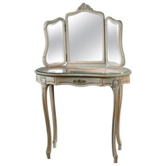 20th Century French Louis XV Vanity Table with Triple Mirror and Front Drawer