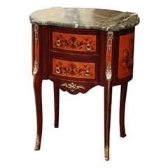 20th Century French Louis XV Walnut Commode Chest of Drawers with Marble Top
