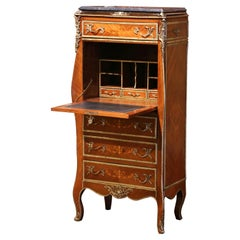 20th Century French Louis XV Walnut Marquetry Secretary Chest with Marble Top