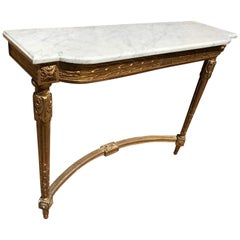 20th Century French Louis XVI Style Golden Wood and Marble Top Console, 1900s