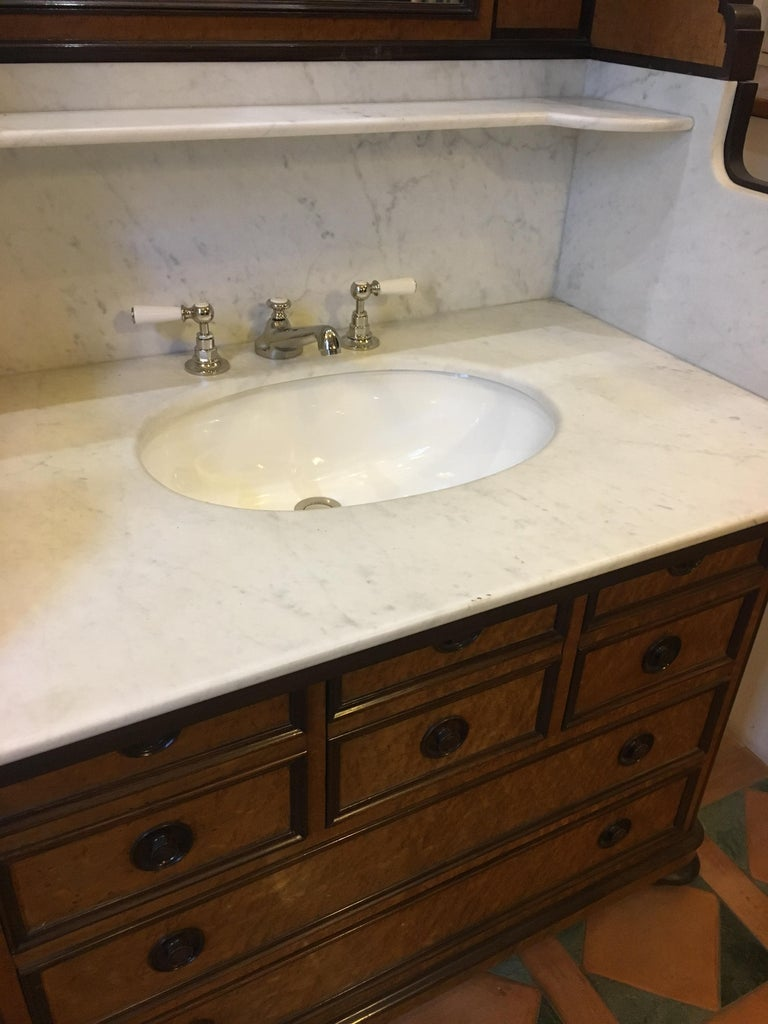 Mid-20th Century 20th Century French Mahogany Briar-Root Vanity with Drawers and Carrara Marble For Sale