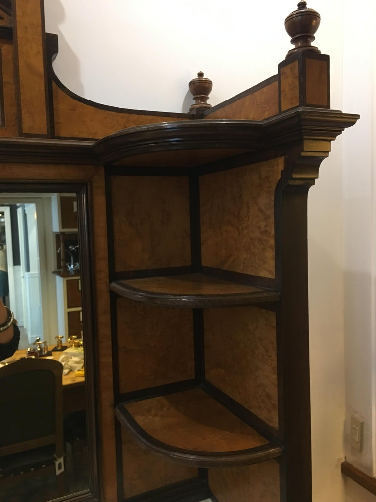 20th Century French Mahogany Briar-Root Vanity with Drawers and Carrara Marble For Sale 1