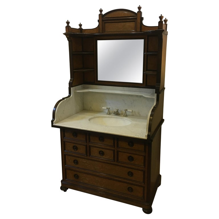 20th Century French Mahogany Briar-Root Vanity with Drawers and Carrara Marble For Sale