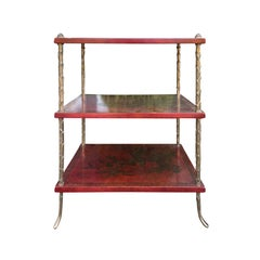20th Century French Maison Jansen Style Bronze and Red Chinoiserie Side Table