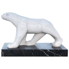 20th Century French Marble Polar Bear Attributed to Francois Pompon