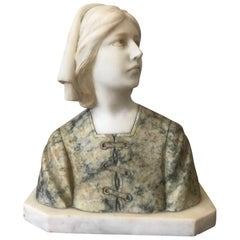 20th Century French Marble Woman Bust, 1920s