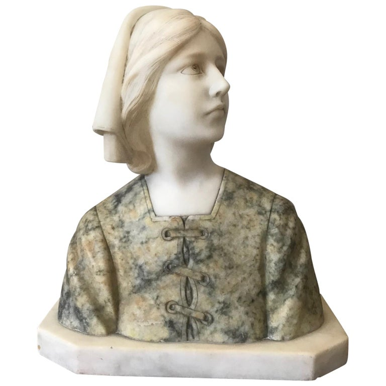 20th Century French Marble Woman Bust, 1920s For Sale