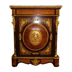 20th Century French Marquetry Inlaid Marble-Top Cabinet