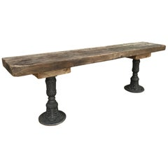 20th Century French Metal and Oak Console Table, 1900s
