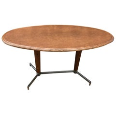 20th Century French Metal and Wood Oval Table, 1960s