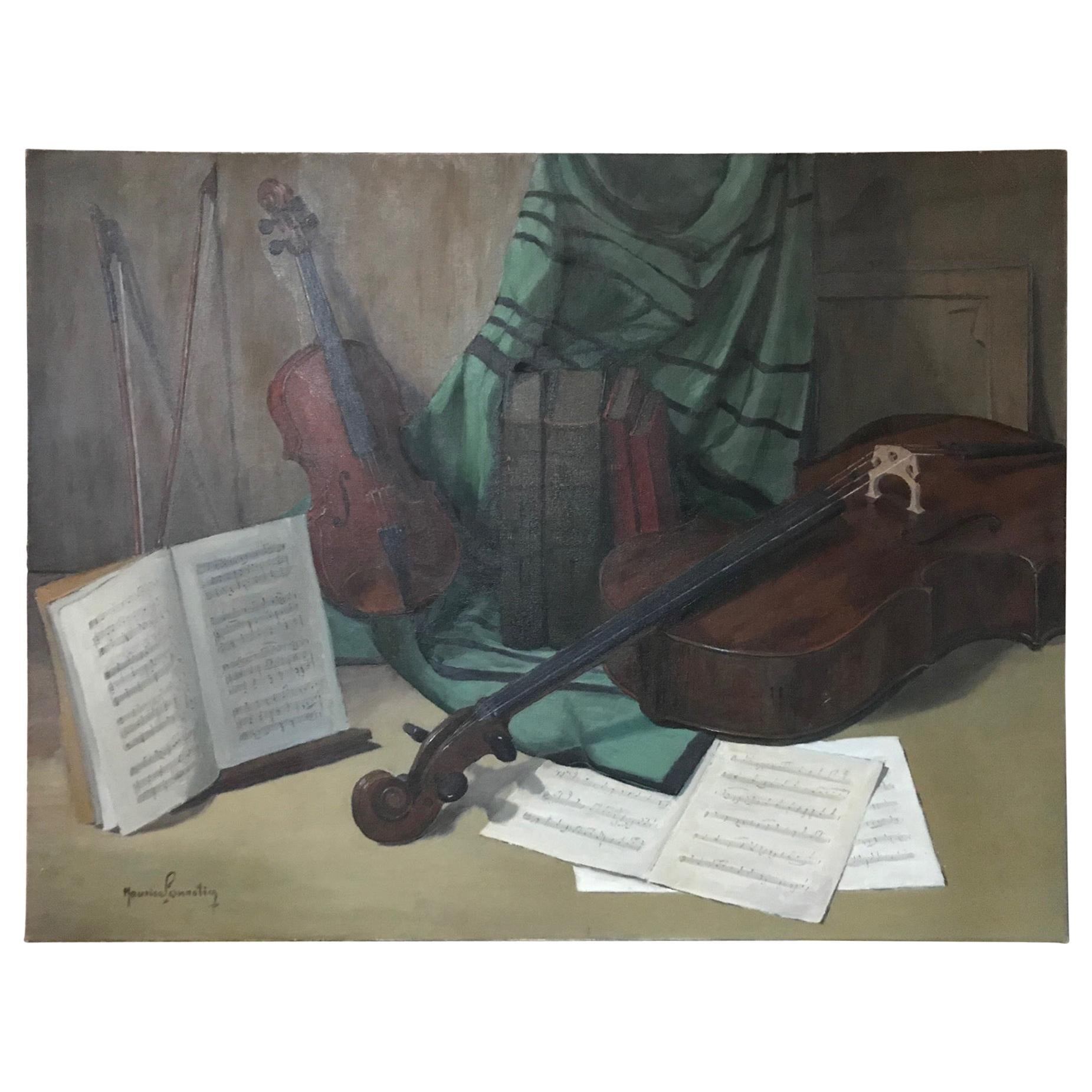 20th Century French Musical Instruments Oil on Canvas Signed, 1940s