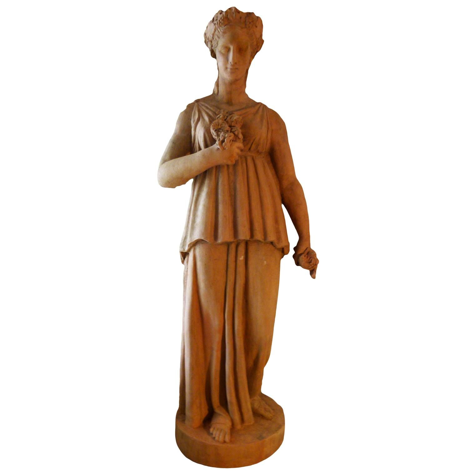 20th Century French Terracotta Statue, Neoclassical Greco-Roman Inspired