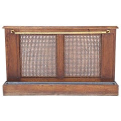 20th Century French Oak and Cane Umbrella Stand with Brass Rail