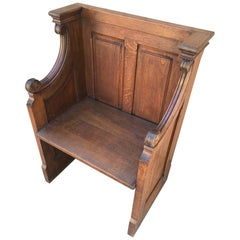 20th Century French Oak Church Bench